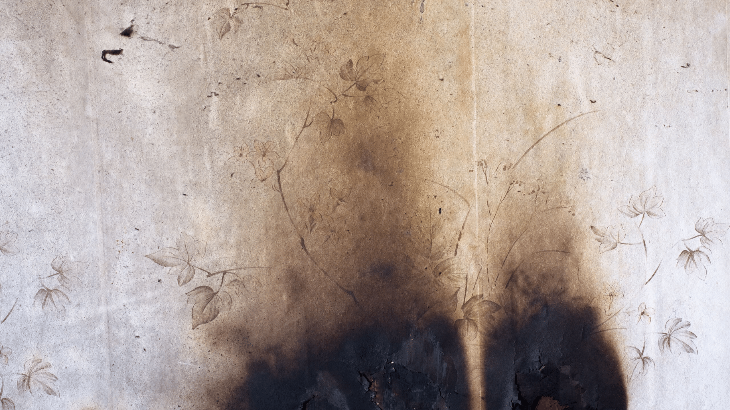 smoke damage on a wall